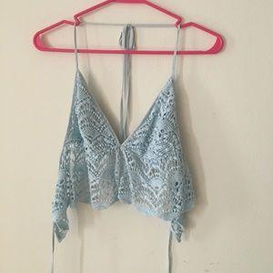 Tobi light blue crochet crop top (M)